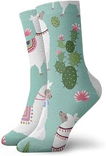 wwoman, Calcetines de vestir estampados para hombre y mujer Llama y cactus 1 Calcetines coloridos divertidos y novedosos Crazy Crew 30 cm