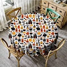 ScottDecor Halloween Tassel Tablecloth Halloween Icons Collection Candies Owls Castles Ghosts October 31 Theme Summer Round Tablecloth Orange Yellow Black Diameter 54