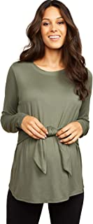 Women's Maternity Long Sleeve Brushed Hacci Tie Front Tunic