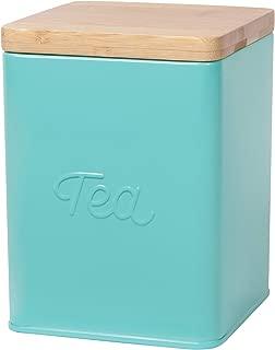 Now Designs Square Tea Tin, Turquoise, Vintage Script Print
