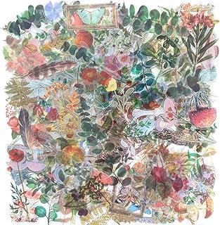 170PCS Autocollants Décoratifs Transparents,Ensemble D'autocollants de Scrapbook de Plantes Florales Rétro,Convient Pour L...
