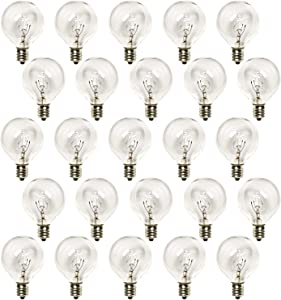 G40 Replacement Light Bulbs 5 Watt Clear Globe Bulbs Fits E12/C7 Candelabra Base, Pack of 25 1.5 inch Light Bulbs for Indoor/Outdoor Garden Patio Decor