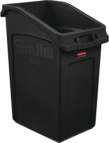 2021 Rubbermaid outlet sale Commercial Products 2026722 Slim Jim Under-Counter Trash Can with Venting popular Channels, 23 Gallon, Black online sale
