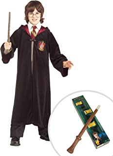 Harry Potter Premium Gryffindor Robe Child Costume and Harry Potter Light Up Wand