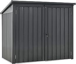 Juskys 2er Mülltonnenbox Genk 1,6m² grau| 2 Mülltonnen je 240 Liter I abschließbare Doppeltür I Metall Mülltonnenverkleidu...