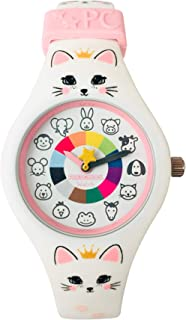 Kitty Preschool Watch - The Only Analog Kids Watch Preschoolers Understand! Quality Teaching/Learning Time Silicone Watch with Glow-in-The-Dark Dial & Japan Movement