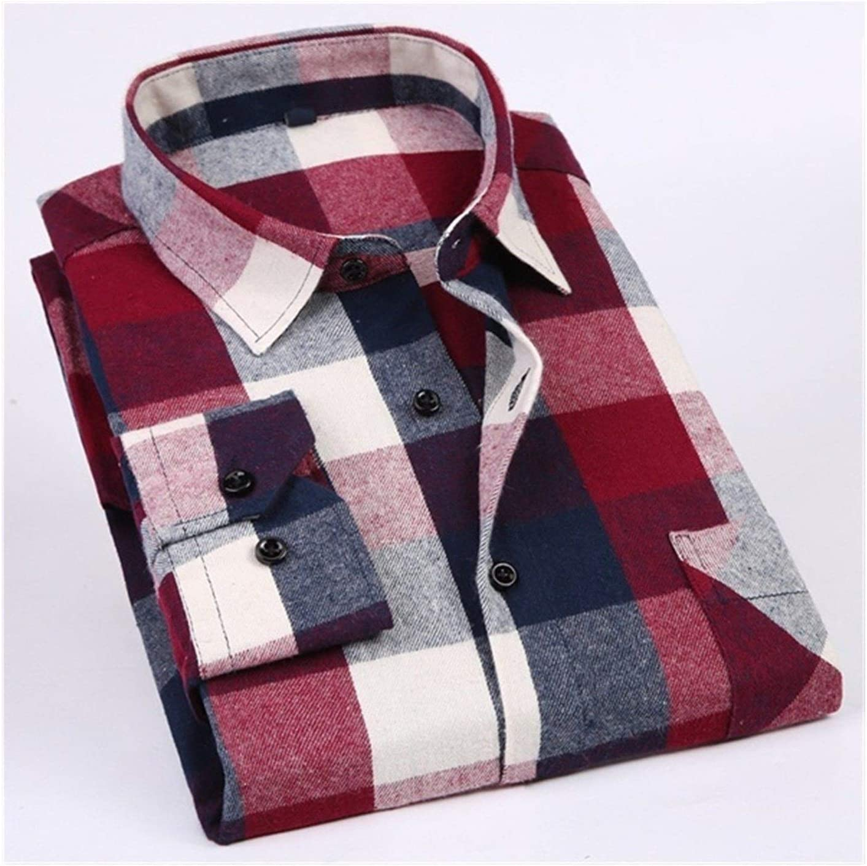 QWERBAM Men Plaid Shirt Cotton Spring Autumn Long Brand new Casual Sleeve Ranking TOP2