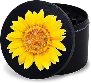 Premium Metal Tobacco Herb Grinder w/Razor Sharp Teeth, Magnetic Lid, 4 Piece - Yellow Flower