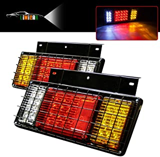 LIMICAR 2PCS 40 LED Trailer Tail Lights Kit with Iron Net Protection Turn Signal Brake Reverse Running Lights LED Tail Taillight Light Assembly for Isuzu NPR NPR-HD NRR NQR NKR NHR FSR FRR Truck