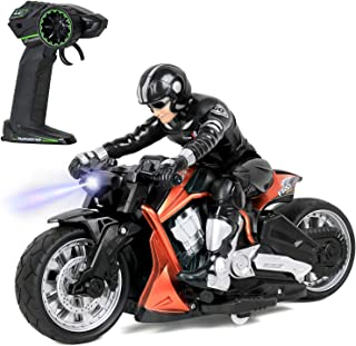 Click N' Play Cross Country High Speed RC Remote Control Stunt Motorcycle with Riding Figure (Orange)