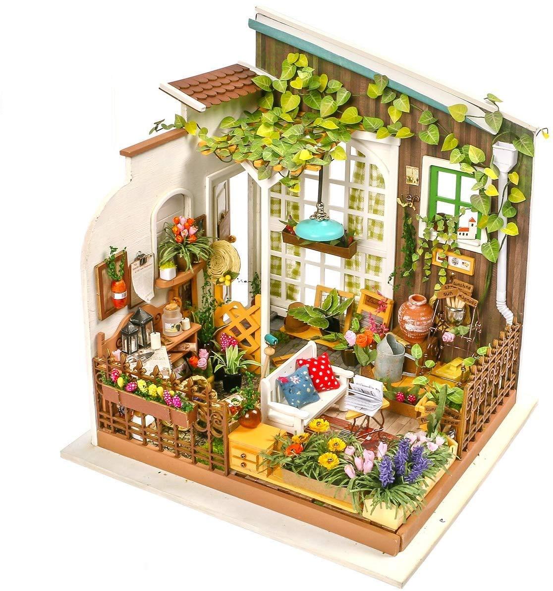 LZBBJ DIY casa de muñecas en Miniatura jardín Soleado Modelado Kits Hechos a Mano del Juguete Casa de muñecas de Madera adecuados para niños y niñas: Amazon.es: Hogar
