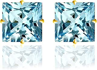 14k Solid Gold 6mm Princess-Cut CZ Stud Earrings by Orchid Jewelry