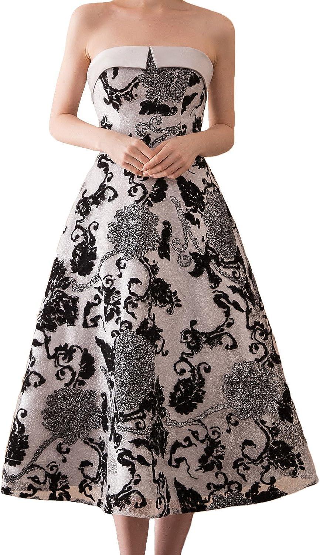 BessWedding Women's Floral Print Homecoming Dresses 2018 Strapless Prom Dress BWH16622