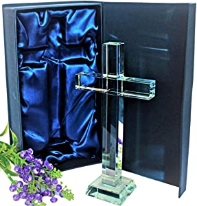 StylingUp Crystal Cross – Modern Christian Gifts and Religious Gifts - Ideal as Catholic Gifts and Christian Decor - Clear Crystal Cross Standing 7.5 inches in Gift Box
