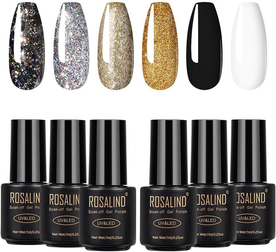 ROSALIND Esmaltes Semipermanentes de Uñas en Gel UV LED 6pcs Kit de Esmaltes de Uñas de Brillo Glitter Negro Blanco 7ml