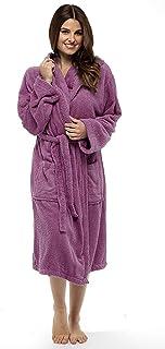 Señoras Robe Luxury Terry Toweling algodón Bata Albornoz Mujeres Altamente Absorbente Mujeres con Capucha y Shawl Towel baño Abrigo