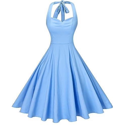 042d61cf1 V fashion Women's Rockabilly 50s Vintage Polka Dots Halter Cocktail Swing  Dress