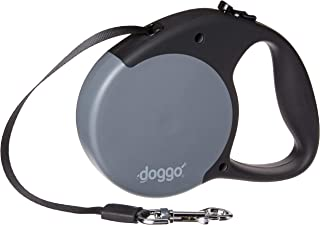 Doggo Everyday Retractable Dog Leash with Soft Grip Handle and 65 lb. Support, Gray/Black, Medium