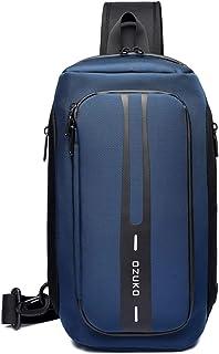 Sponsored Ad - OZUKO Men Chest Crossbody Bags Waterproof Sports Shoulder Fashion Usb Multifunctional Sling Bag