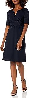 Marca Amazon - Lark & Ro Half Sleeve Front Twist Fit & Flare Dress Mujer