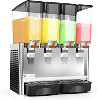 Nurxiovo Commercial Juice Dispenser - 4 Tanks 9.35 Gallon juice Dispenser Equipped with Thermostat Controller Cooling rapidly,2.35 Gallon Per Tank,Stainless Steel