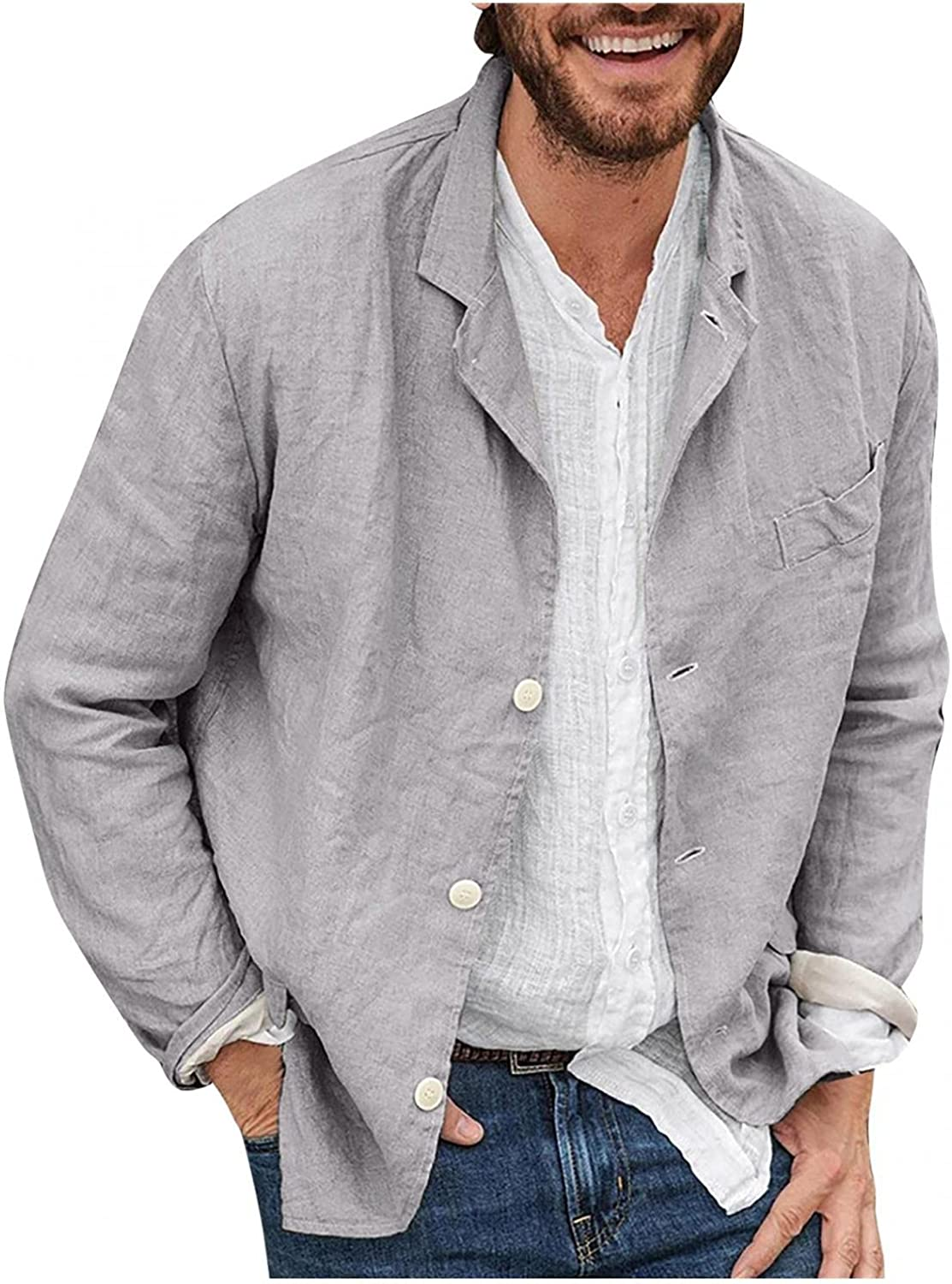 Men's Cotton Linen Blazer Lightweight Long Sleeve Button Down Lapel Jacket Casual Solid Loose Fit Outwear with Pocket