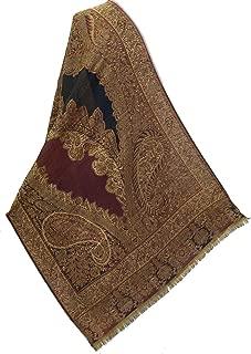 Exotic Design Black & Burgundy Wool Jamawar Paisley Shawl Pashmina Hand Cutwork