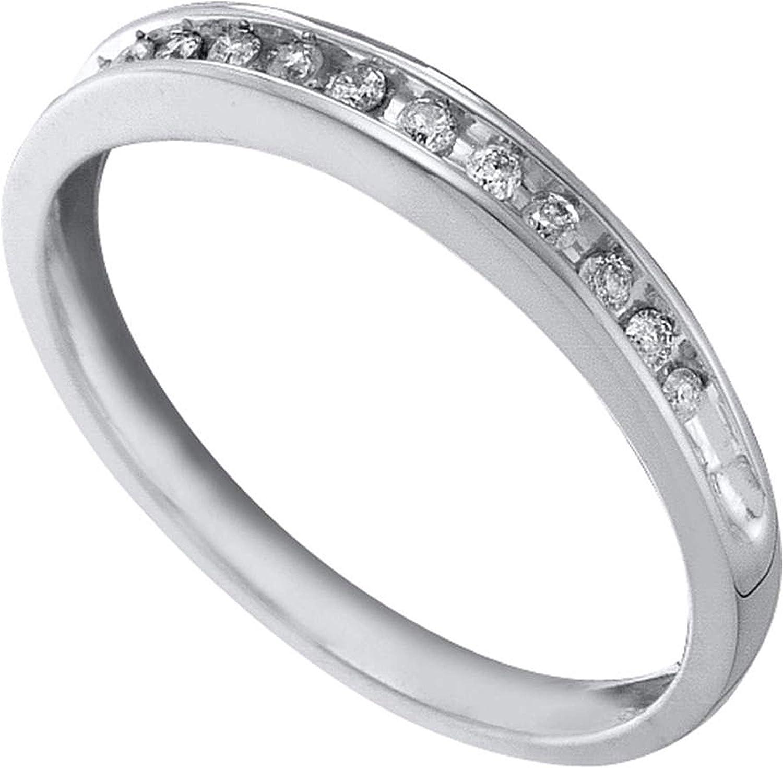 Dazzlingrock Collection 0.1 Carat (Ctw) Round Diamond Band Ring 1/10 Ctw, 10k White Gold