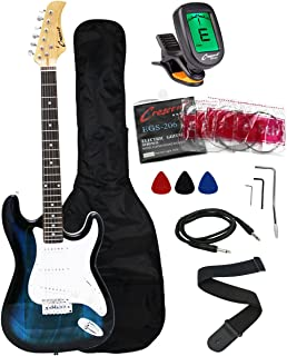 Crescent EG39-TB 39 Inch Electric Guitar Starter Kit, Transparent Blue Color (Includes..
