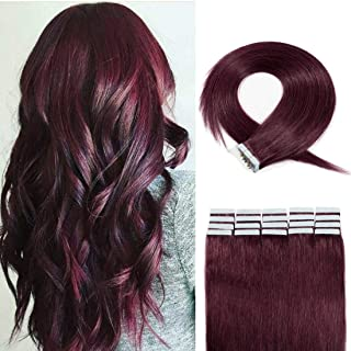 SEGO 20 Pieces Rooted Tape in Hair Extensions Human Hair Seamless Skin Weft 100% Real Remy Invisible Tape Hair Extensions Straight Double Sided 24 Inches #99J Wine red 50g