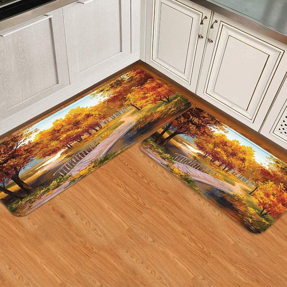 2 Pcs Kitchen Milwaukee Mall Mat Set Autumn Forest River Small Park in W Leaves Colorado Springs Mall