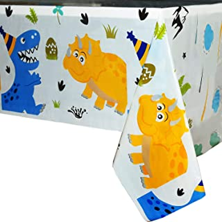 WERNNSAI Dinosaur Party Tablecloth - Dinosaur Party Supplies for Kids Boys Birthday Wedding Baby Shower Decoration 2 Pack 71'' x 43.3'' Disposable Printed Plastic Table Cover for Rectangle Table