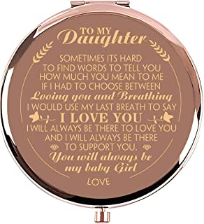 Ueerdand Daughter Gifts from Mom and Dad, Unique Birthday Gift Ideas for Daughter, Graduation Gifts for Her, Present for Women Girls, Rose Gold Purse Pocket Makeup Mirror