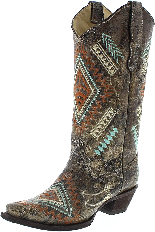 Corral Stiefel Damen Cowboy Stiefel E1037 Lederstiefel Braun
