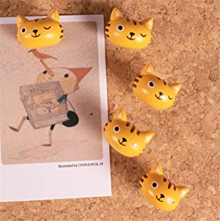 5PCS Cute Decorative Pushpins Creative Cartoon Animals Wood Thumbtacks Map Tacks for Cockboard, Bulletin Board,Photo Wall,...