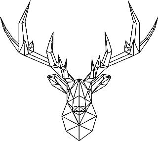 Vinyl Wall Art Decal - Geometric Deer Head - 23