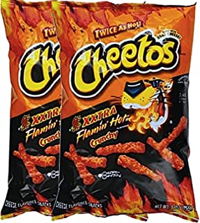 Cheetos Crunchy Xxtra Flamin' Hot Snack Care Package for College, Military, Sports Net Wt 2 1/4 Oz (2)