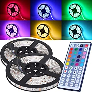 Ezonedeal 16.4FT SMD 5050 Waterproof 300LEDs RGB Flexible LED Strip Light Lamp Kit + 44Key IR Remote Controller(Power Supp...