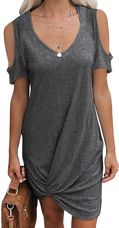 ReachMe Womens Cold Shoulder Twist Dresses Fashion Fashionable Knot Sh Tshirt Casual