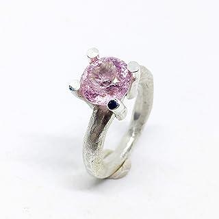 Spettacolare anello in argento sterling con eccezionale tormalina rosa naturale di 3,23 carati di misura (8,8 x 9,2 x 6,4 ...