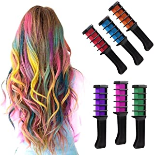 IVYRISE 6PCS Hair Chalk Comb Temporary Color Non-Toxic Makeup Hair Coloring Chalk Comb DIY Dye Set for All Ages Girls Teens Adults