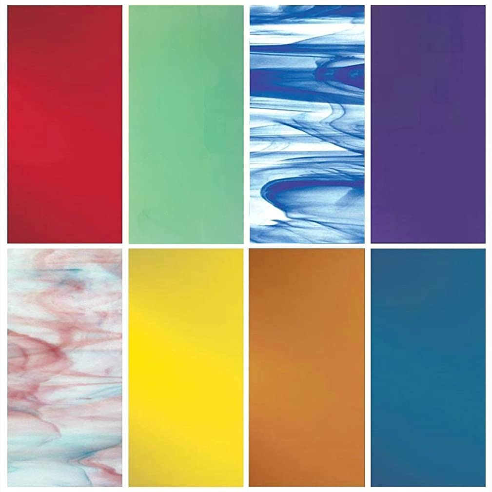 """iDichroic Spectrum System 96 COE Compatible Fusible Glass Pack, 8 Deluxe 6"""" x 6"""" Sheets"""