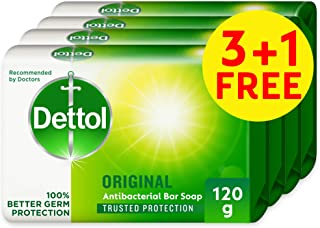 Dettol Anti-Bacterial Bar Soap - Original, 4 x 120gm