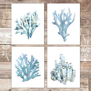 Beach Wall Decor Art Prints (Set of 4) - Unframed - 8x10s | Coral