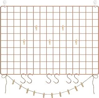 SONGMICS Grid Wall Panels, Set of 2, Photo Wall Display, Metal Mesh Wall Decor, Multifunctional Hanging Picture Wall, DIY, S Hook, Clips, Hemp Cord, Rose Gold ULPP02DR