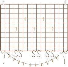 SONGMICS Grid Wall Panels, Set of 2, Photo Wall Display, Metal Mesh Wall Decor, Multifunctional Hanging Picture Wall, DIY, Art Display, S Hook, Clips, Hemp Cord, Rose Gold ULPP02DR