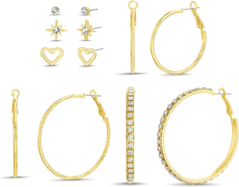 Steve Madden 35mm 45mm 50mm Yellow Hoop Rhinestone Heart Star Stud Earrings for Women 6 Pair Set