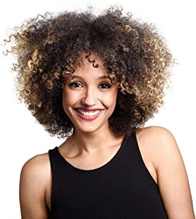 DEYSSNE Short Kinky Curly Afro Wigs For Black Women Natural Brown Blonde Ombre Synthetic Hair