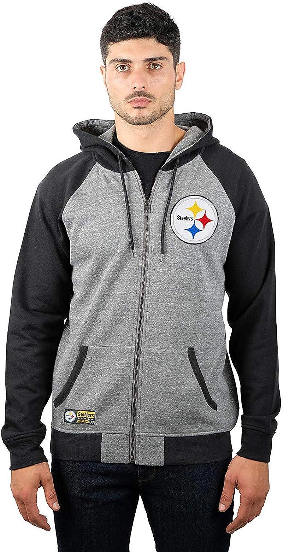NFL Mens NFL Men's Full Zip Contrast Raglan Hoodie Sweatshirt Jacket