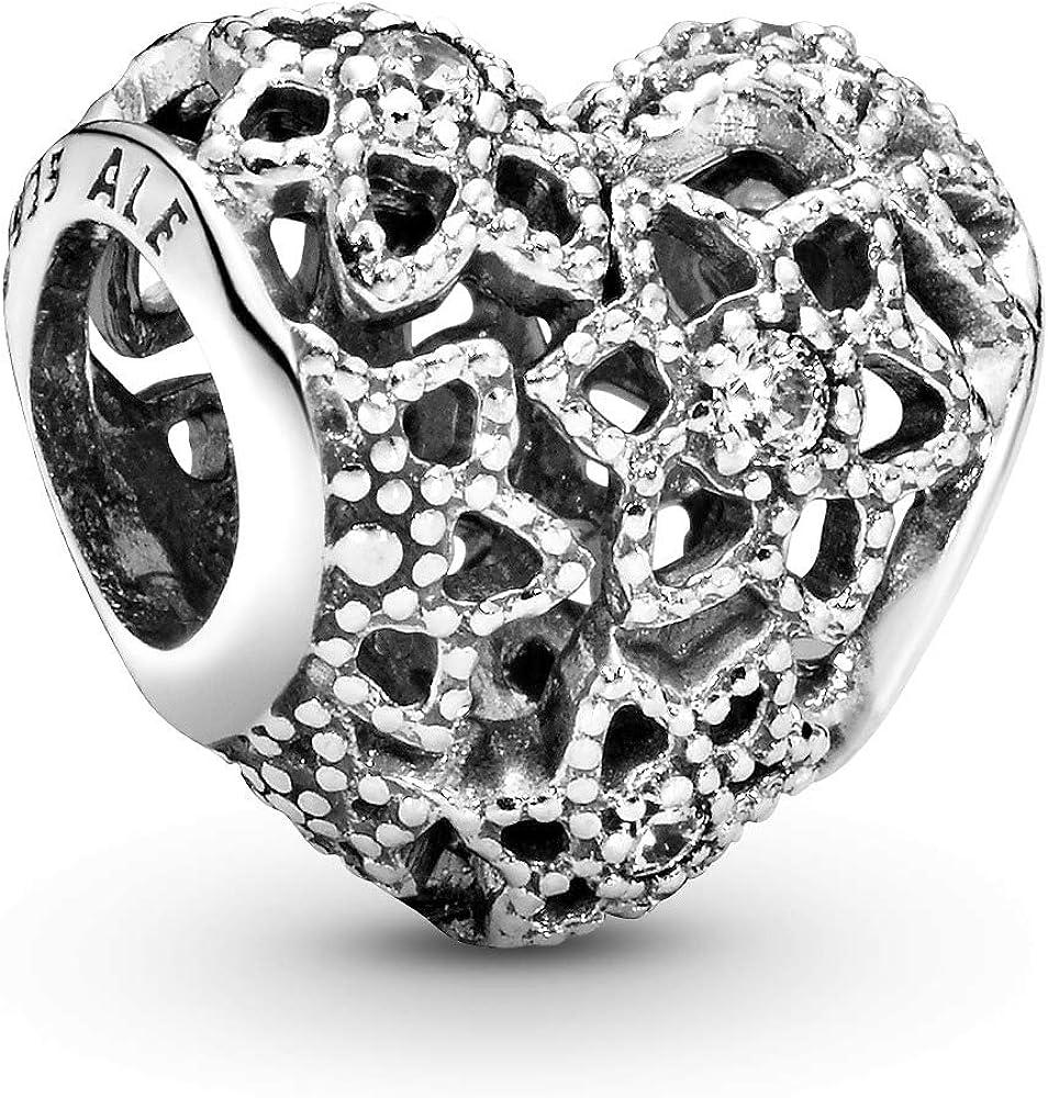 Pandora ciondolo charm openwork a cuore con fiori in argento sterling 925 per donna 796264CZ
